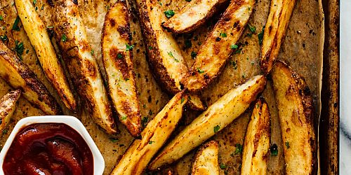 Ultra Crispy Baked Potato Wedges- GF & Vegan